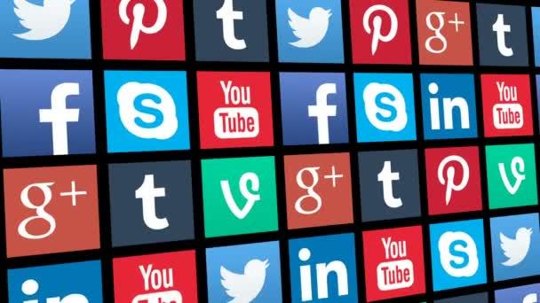Bezešvá smyčka ikon aplikací sociálních médií přesunu