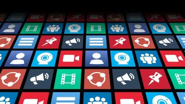 Bezešvá smyčka z koncepční sociální Media ikony aplikací roztmívání