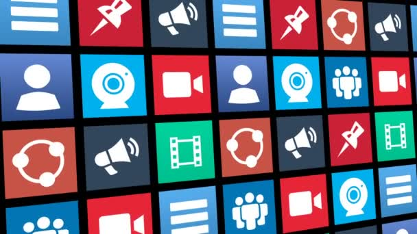 Bezešvá smyčka abstraktní sociální Media ikon aplikací stěhování