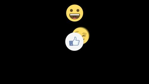 Tváře emotikony (smajlíky) vyskočí z jako tlačítko. digitální komunikační koncept.