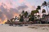 Tramonto su Druif beach sullisola di Aruba nel Mar dei Caraibi