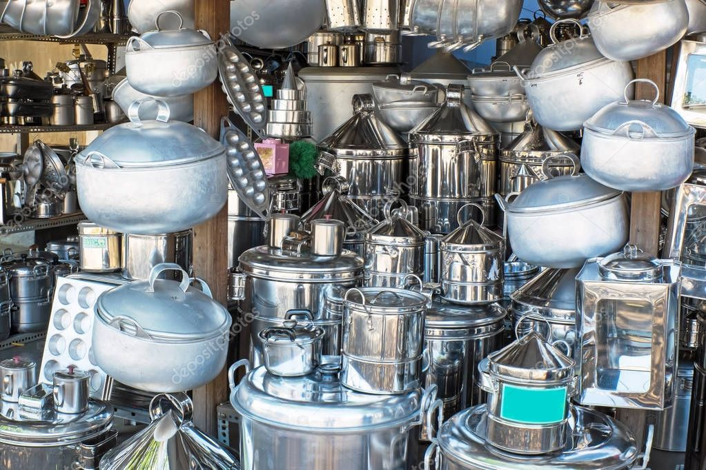 kitchen utensils in a shop in indonesia — stock photo