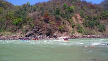 Rafting on the river Ganga in India