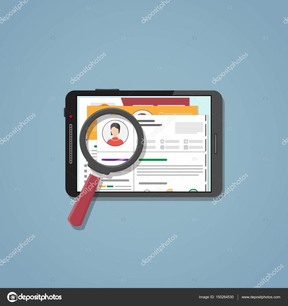 Búsqueda cv en la tableta — Vector de stock © ikonstudios #150264530