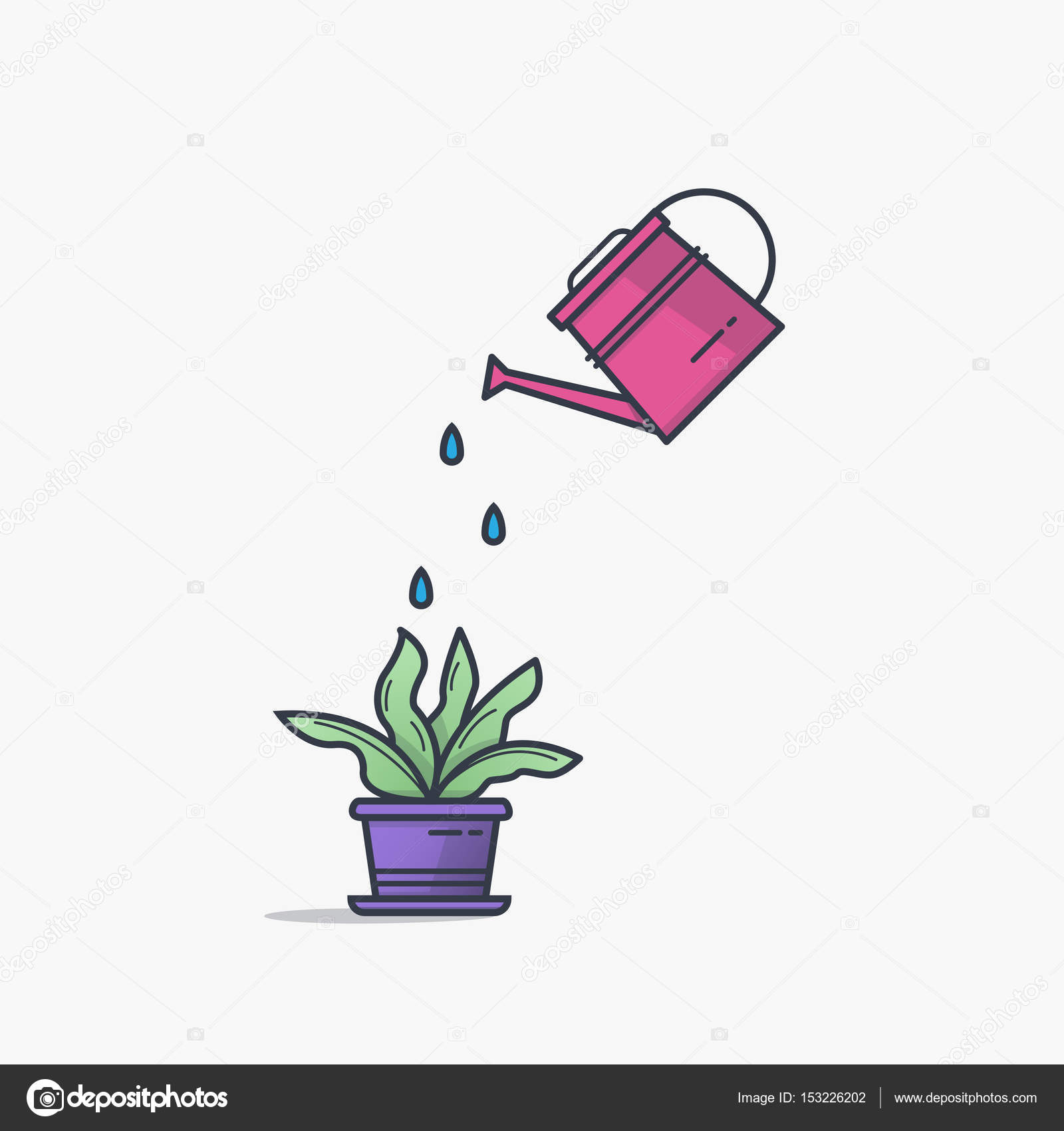 Watering can and flower pot stock vector ikonstudios 153226202 watering can and flower pot stock vector ccuart Choice Image