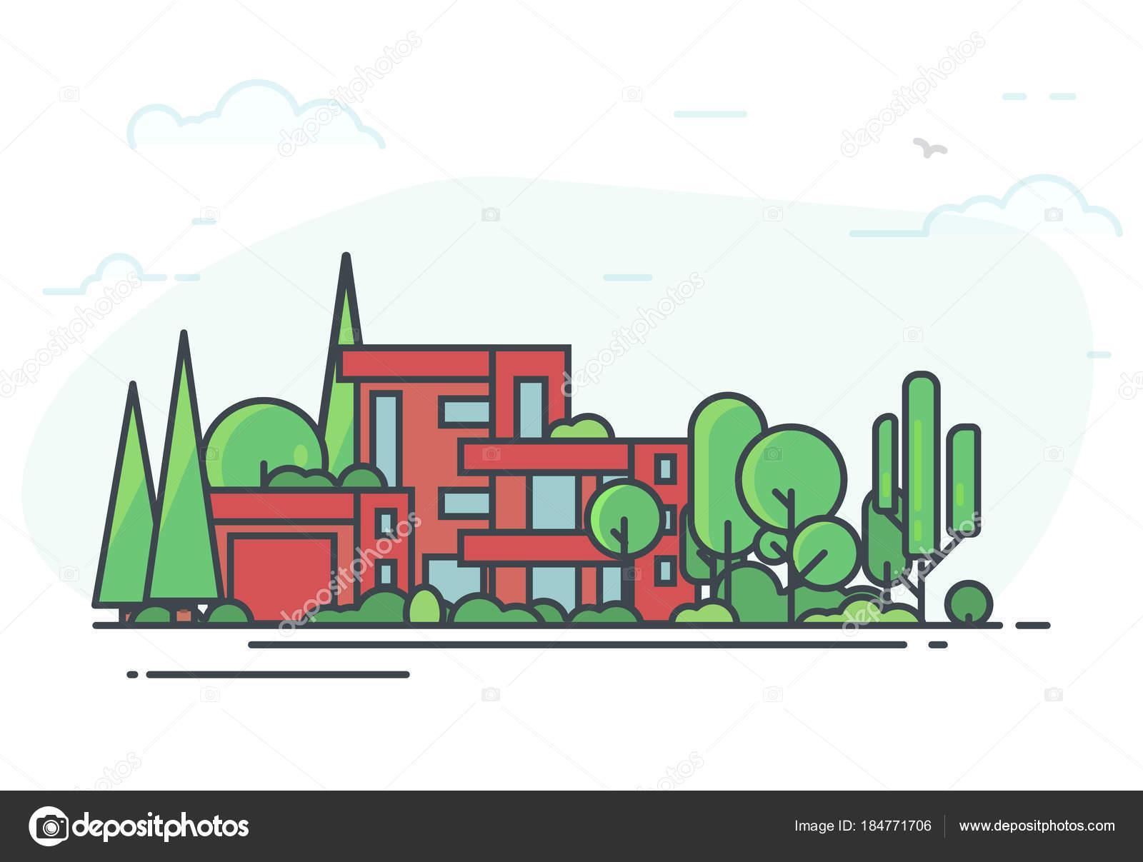Großes Modernes Ferienhaus Mit Bäumen Umgeben. Grünen Park. Immobilien  Ferienhaus Hintergrund Für Banner. Rot, Modernes Haus Mit Garage, Große  Fenster Und ...
