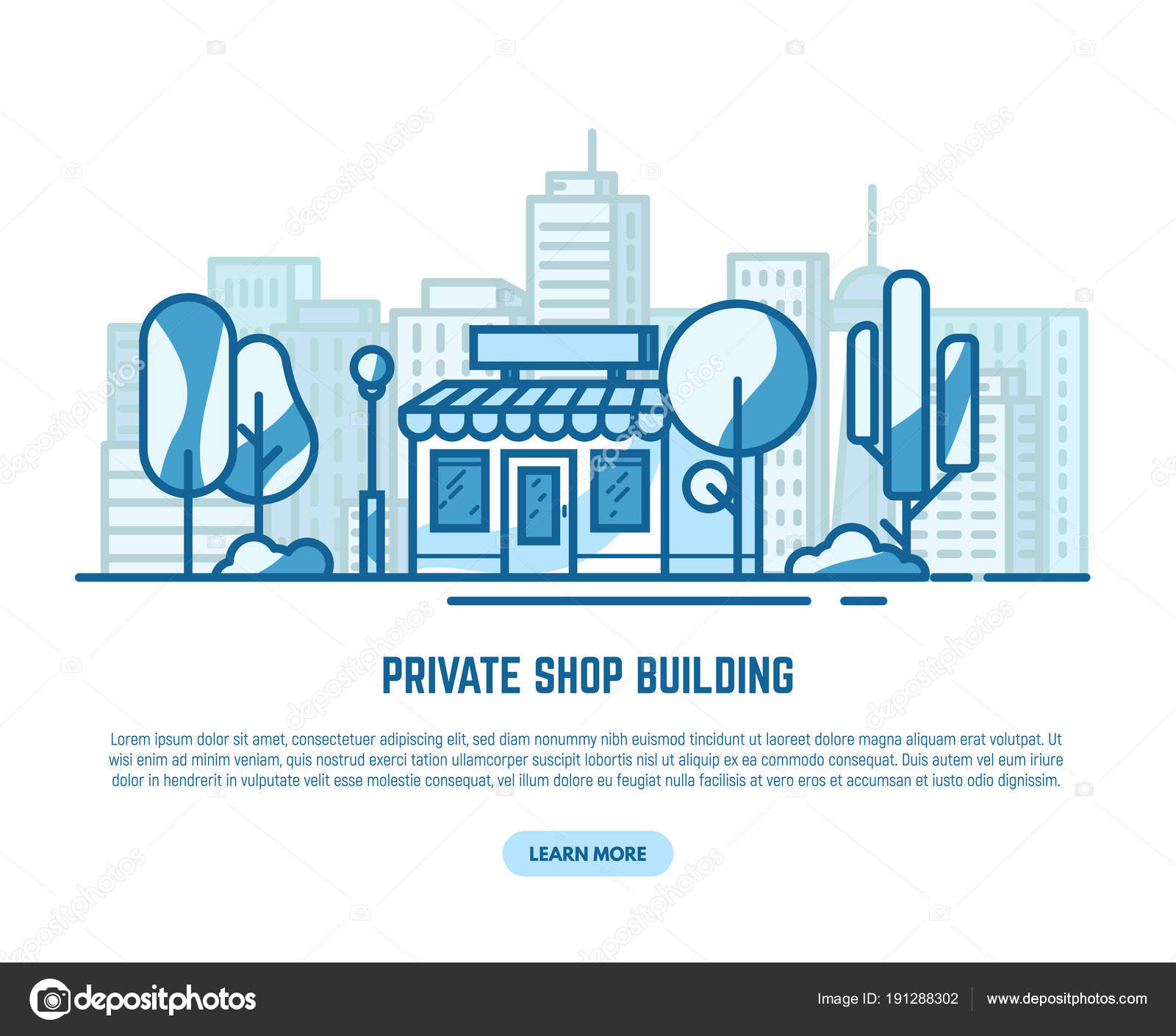 Private store building — Stock Vector © ikonstudios #191288302