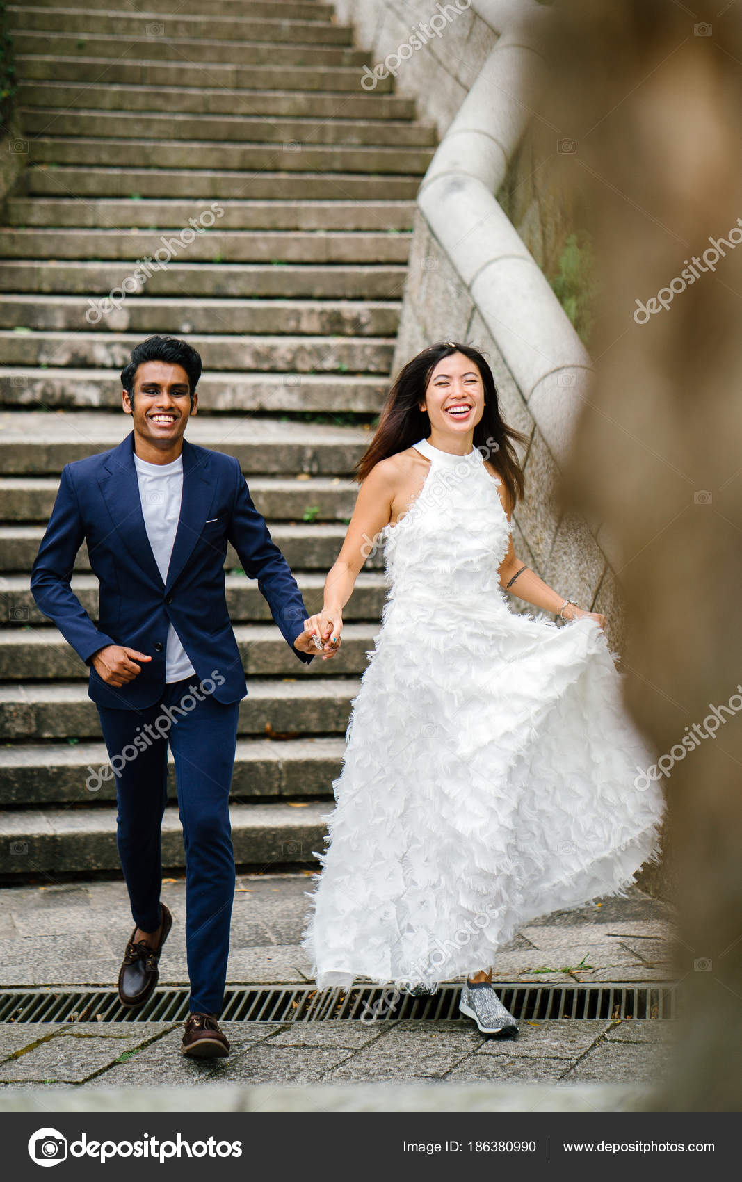 Young Interracial Couple Indian Man Chinese Woman Take Wedding ...