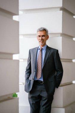 portrait of Senior businessman wearing suit on city background