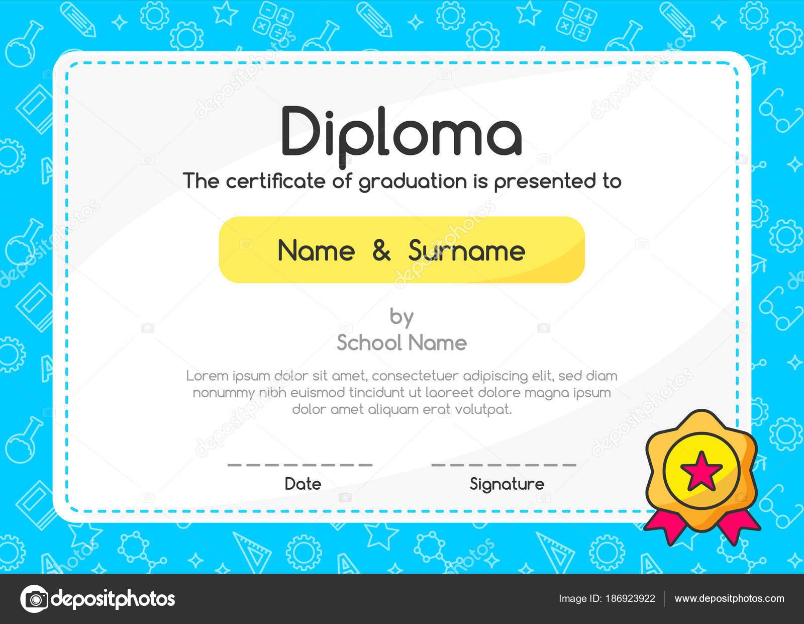 Los Niños Diploma Certificado Diseño Diseño Plantillas Estilo Lindo ...