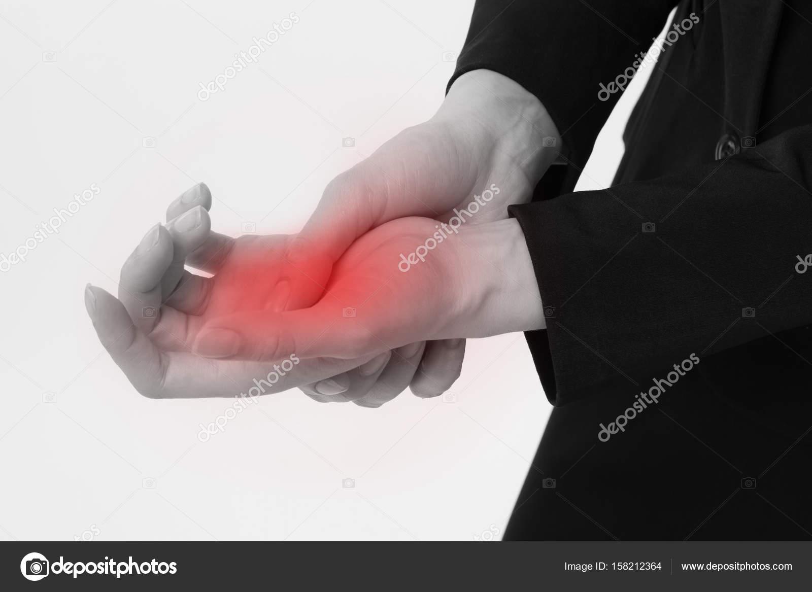 Geschäftsfrau, die Hand oder Handgelenk Verletzungen, Arthritis ...