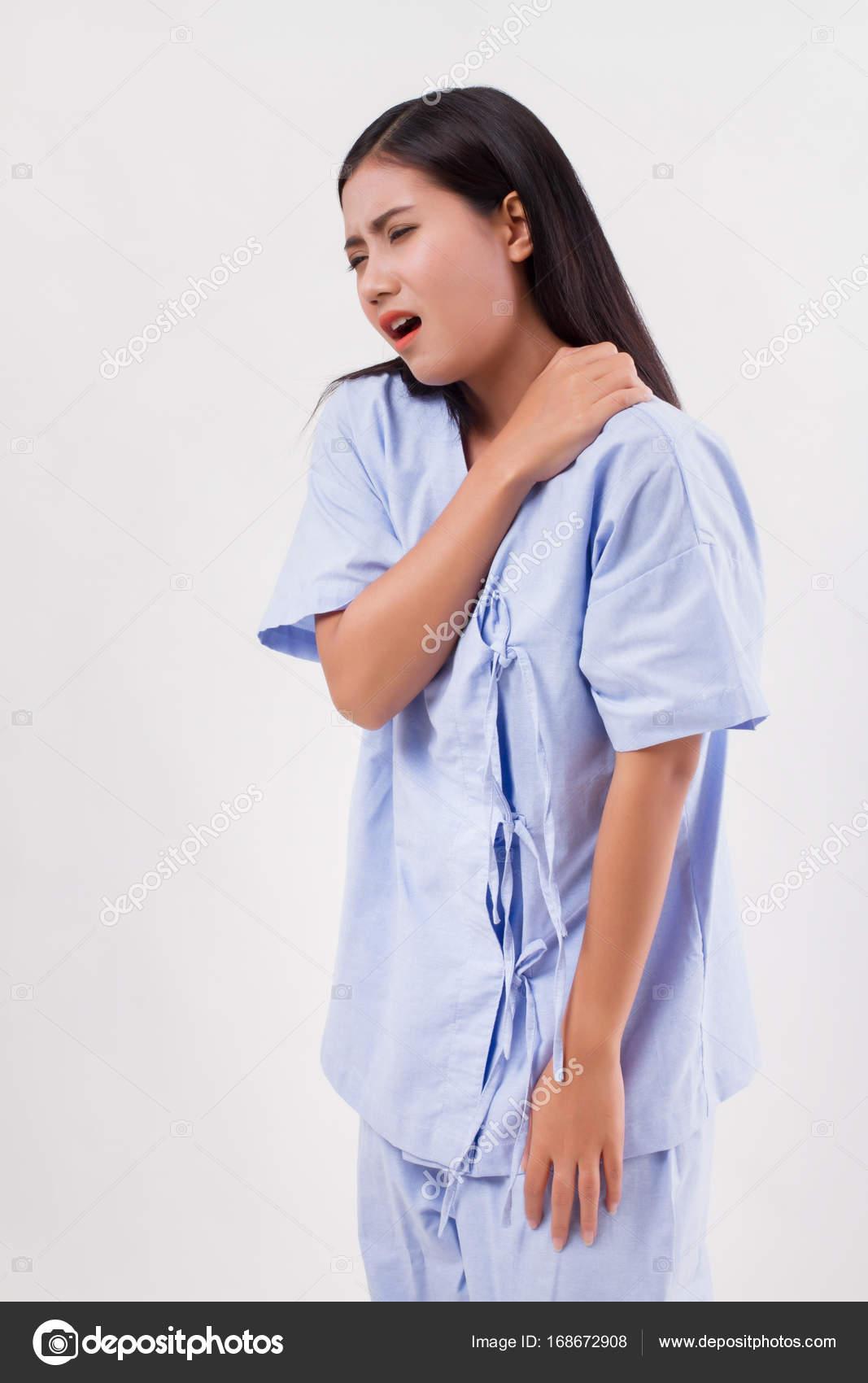 Frau mit Schulter oder Hals Schmerzen, Steifheit, Verletzungen ...