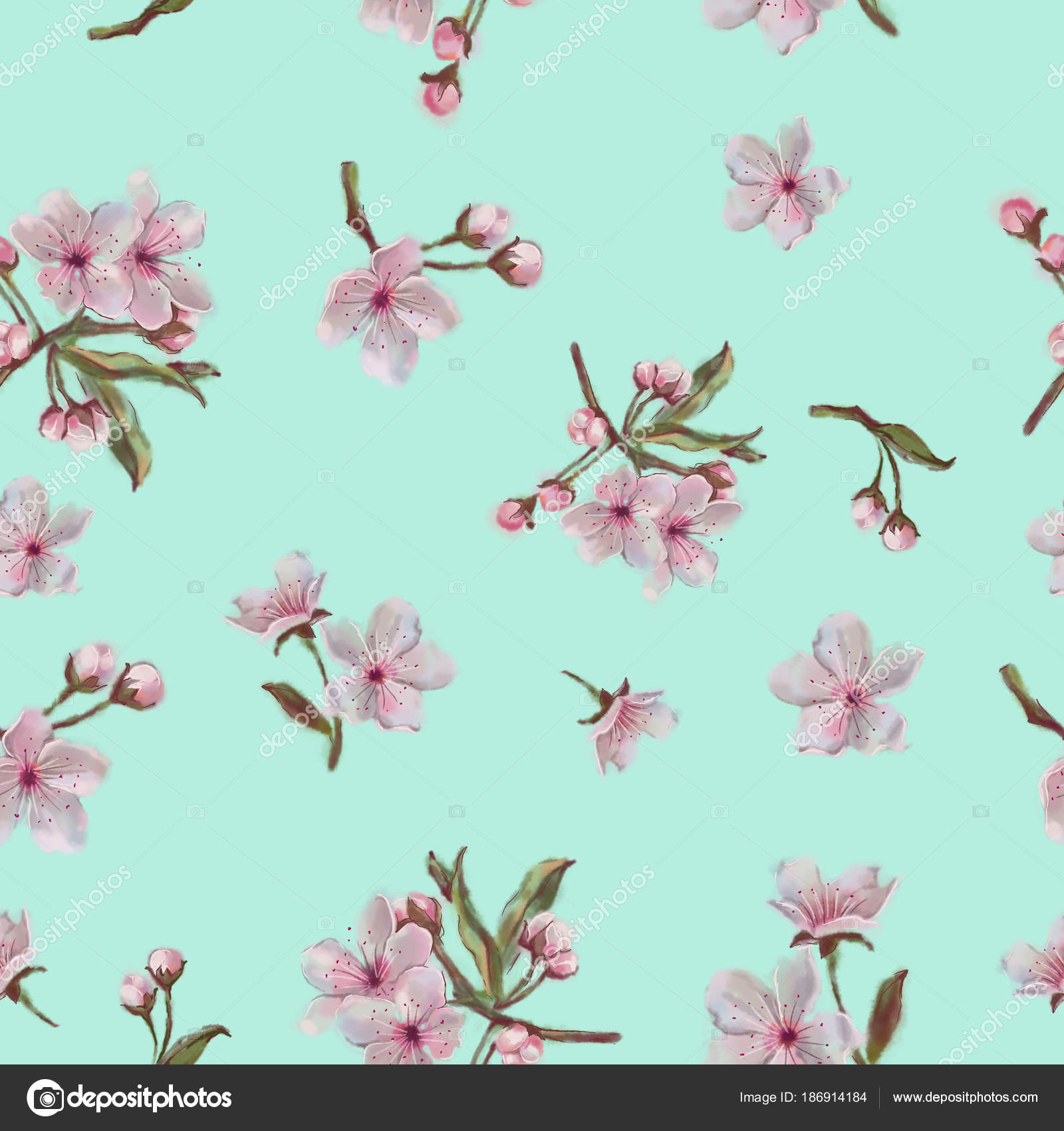 Watercolor Floral Pattern Mint Background Apple Cherry Almond