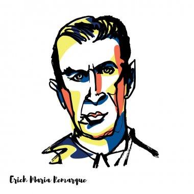 Erich Maria Remarque engraved vector portrait with ink contours. 20th-century German novelist.