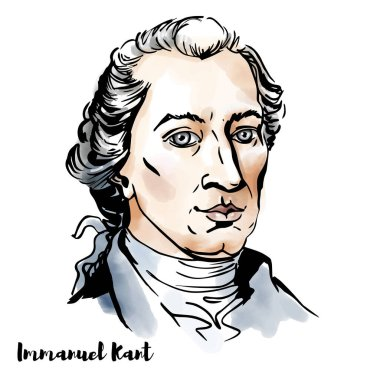 Immanuel Kant engraved watercolor vector portrait with ink contours. Influential Prussian German philosopher in the Age of Enlightenment.