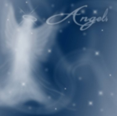 Translucent angelic angel in the heavens with text, Angels blending into background with stars.  Illustration graphic background.