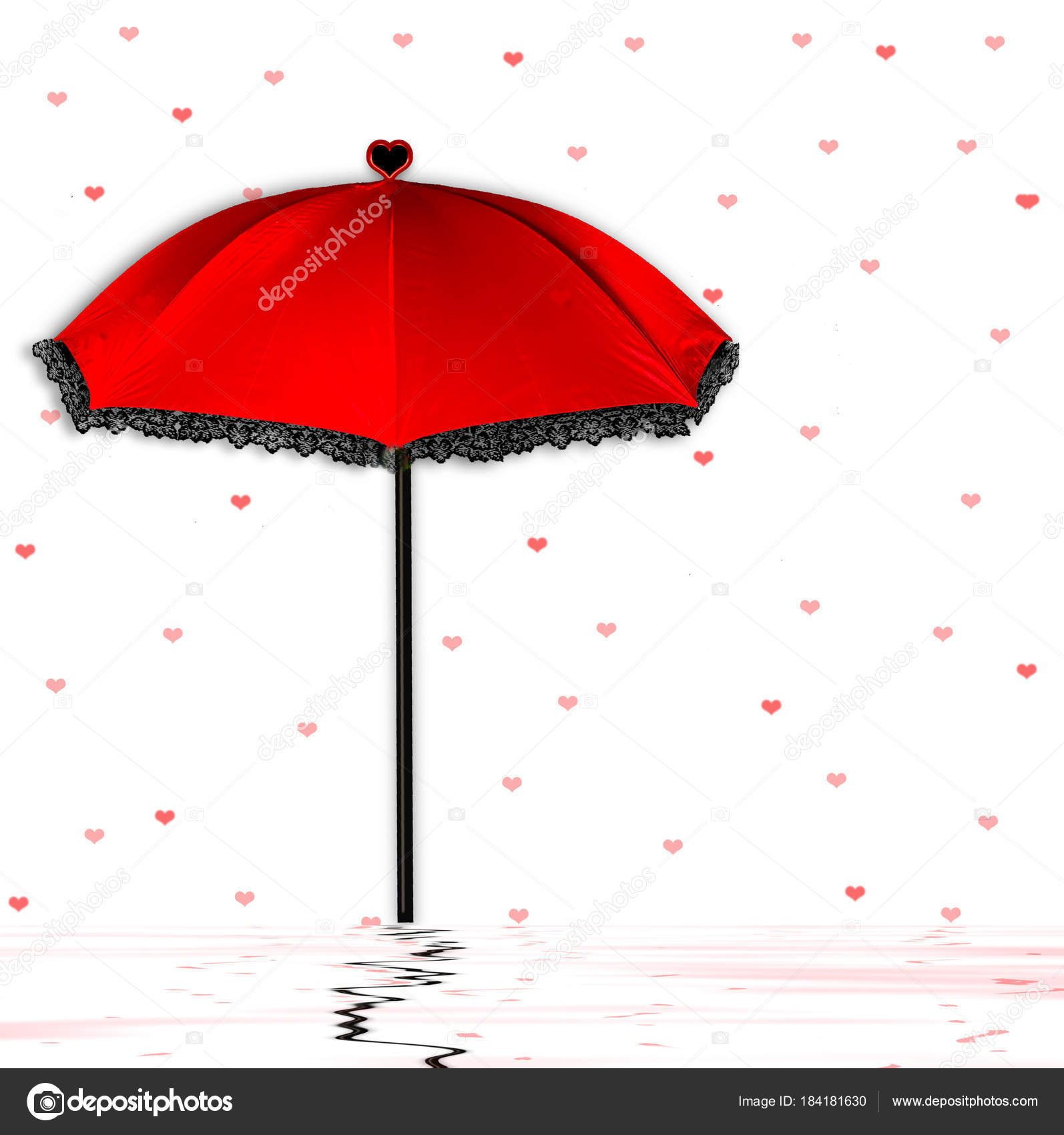 Fun Background With Red And Black Unbrella With Tiny Red Hearts Floating Around It And Below Water With Reflections Il Ration Background