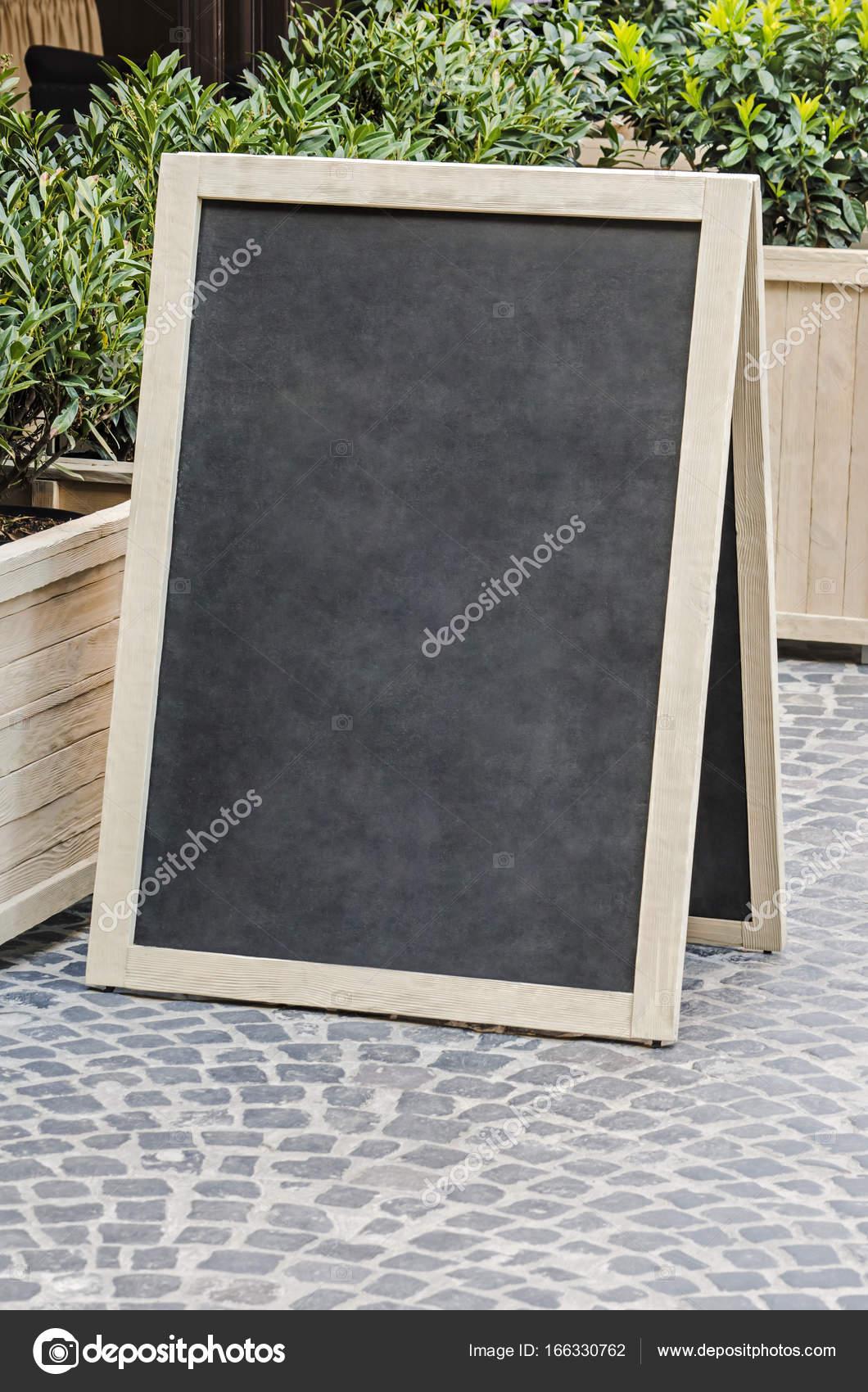Blank Restaurant Menu Board On The Street Stock Photo