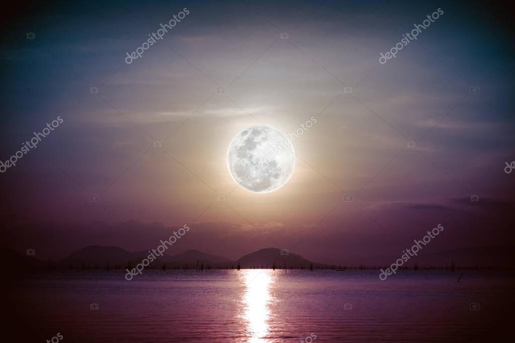 Фотообои Romantic scenic with full moon on sea to night. Vignette picture style.