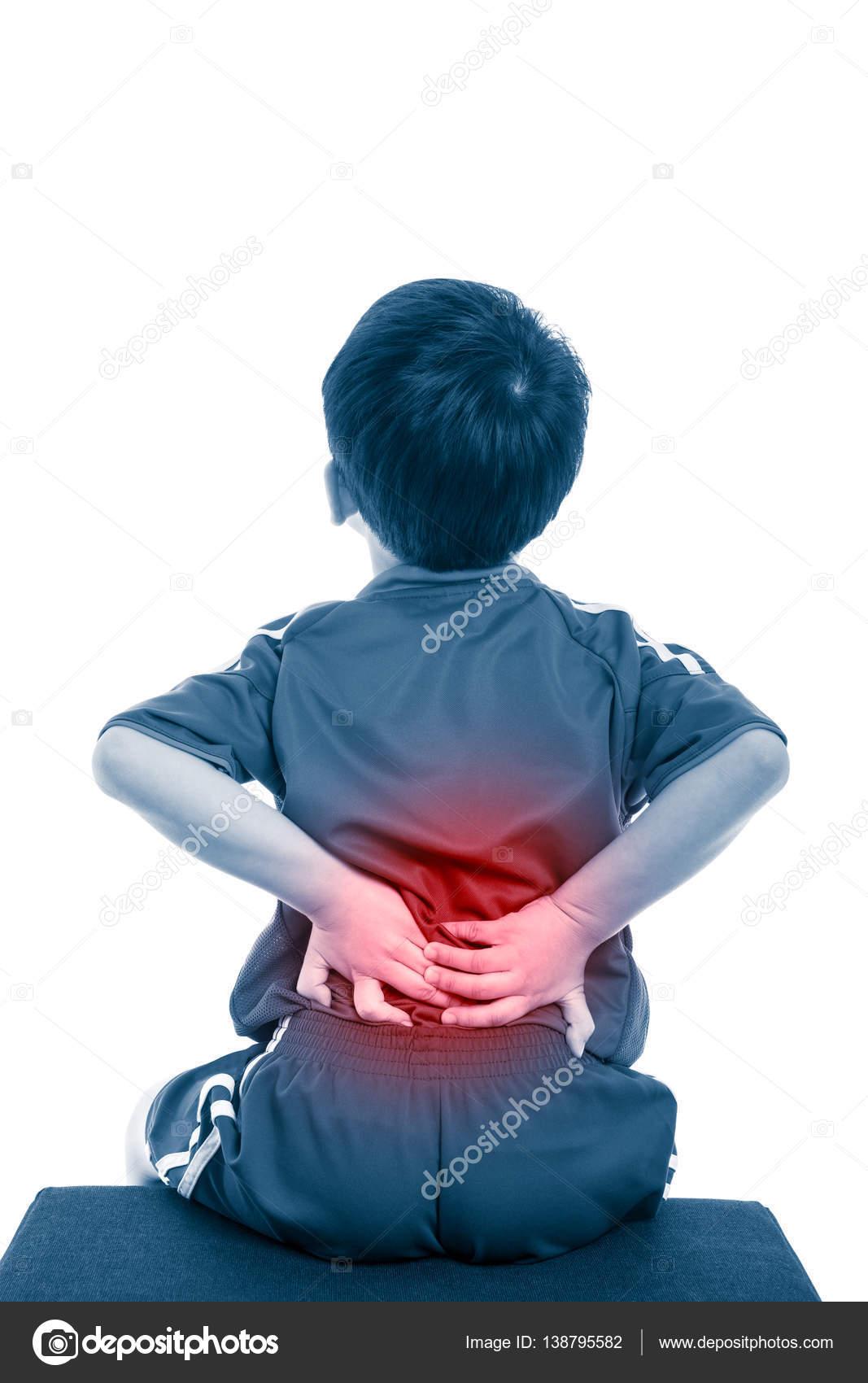Rücken Sie Schmerzen im. Kind, reiben die Muskeln des unteren ...