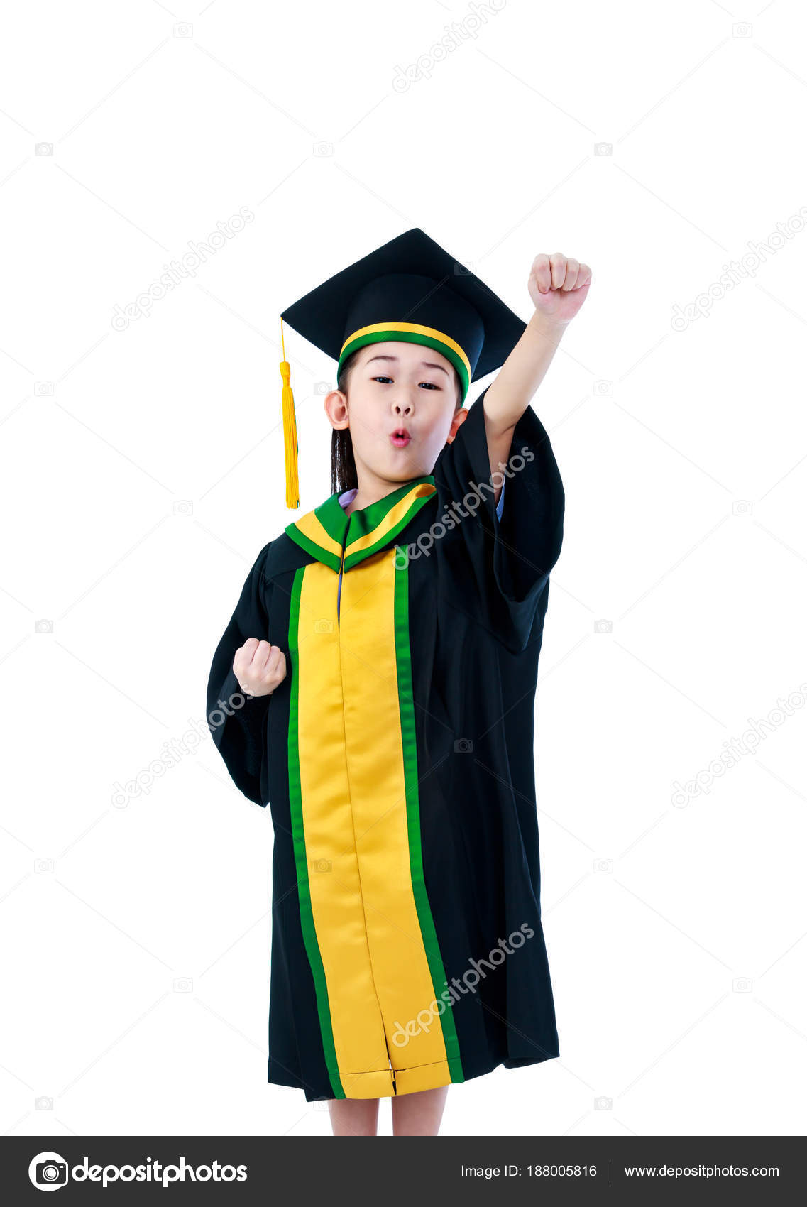 Asian Child In Graduation Gown With Cap Isolated On White