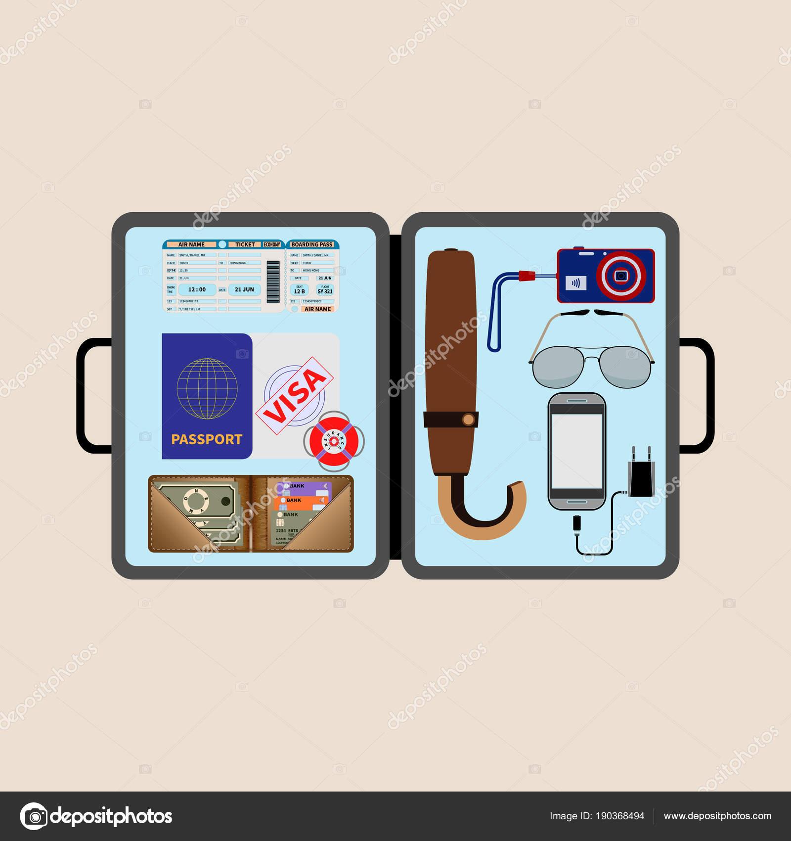 Векторная иллюстрация плоский портфель с вещами для путешествий  транспорт  билета, паспорта, визы, страхование, бумажник с наличные и кредитные карты,  ... 71a216e7f83