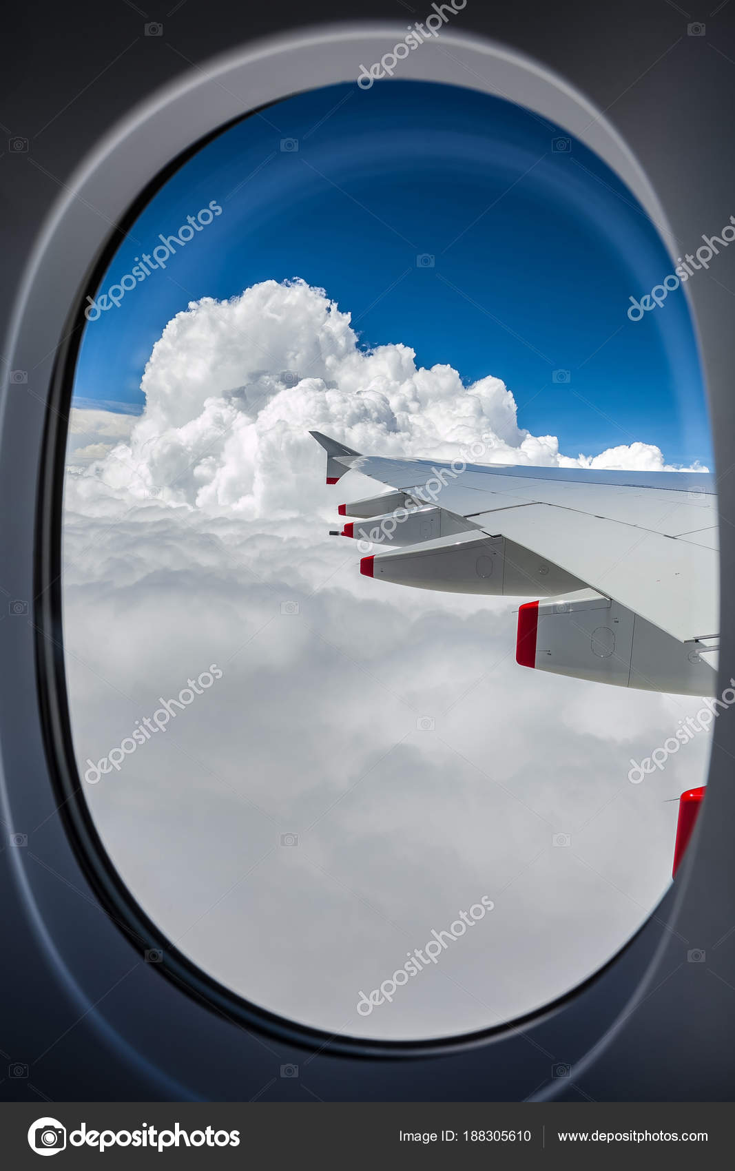 View Airplane Wing Out Window Stock Photo C Sunshineseeds 188305610