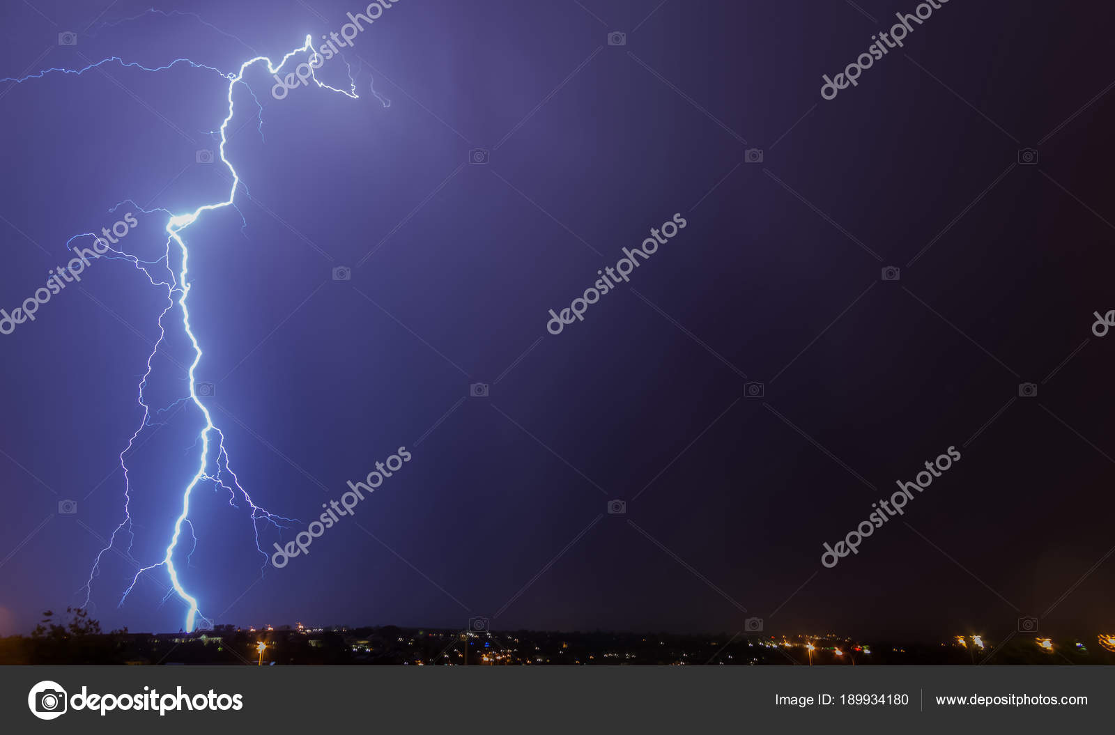 large lightning strike ground cloud ground lightning strike