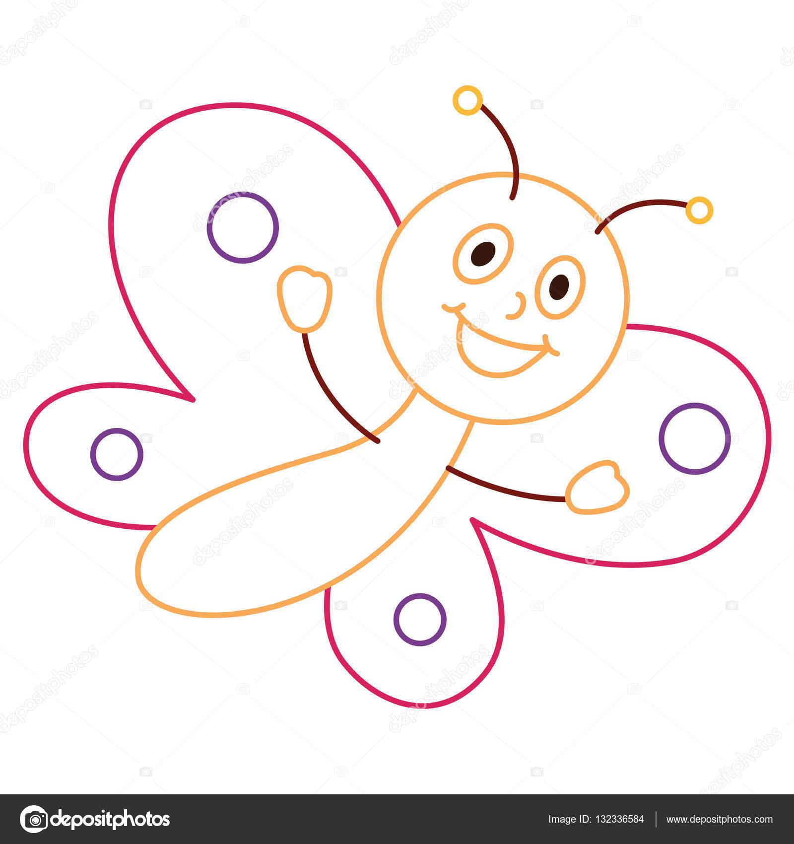 Animado Mariposa Caricatura Dibujo Colorear Ilustración De La