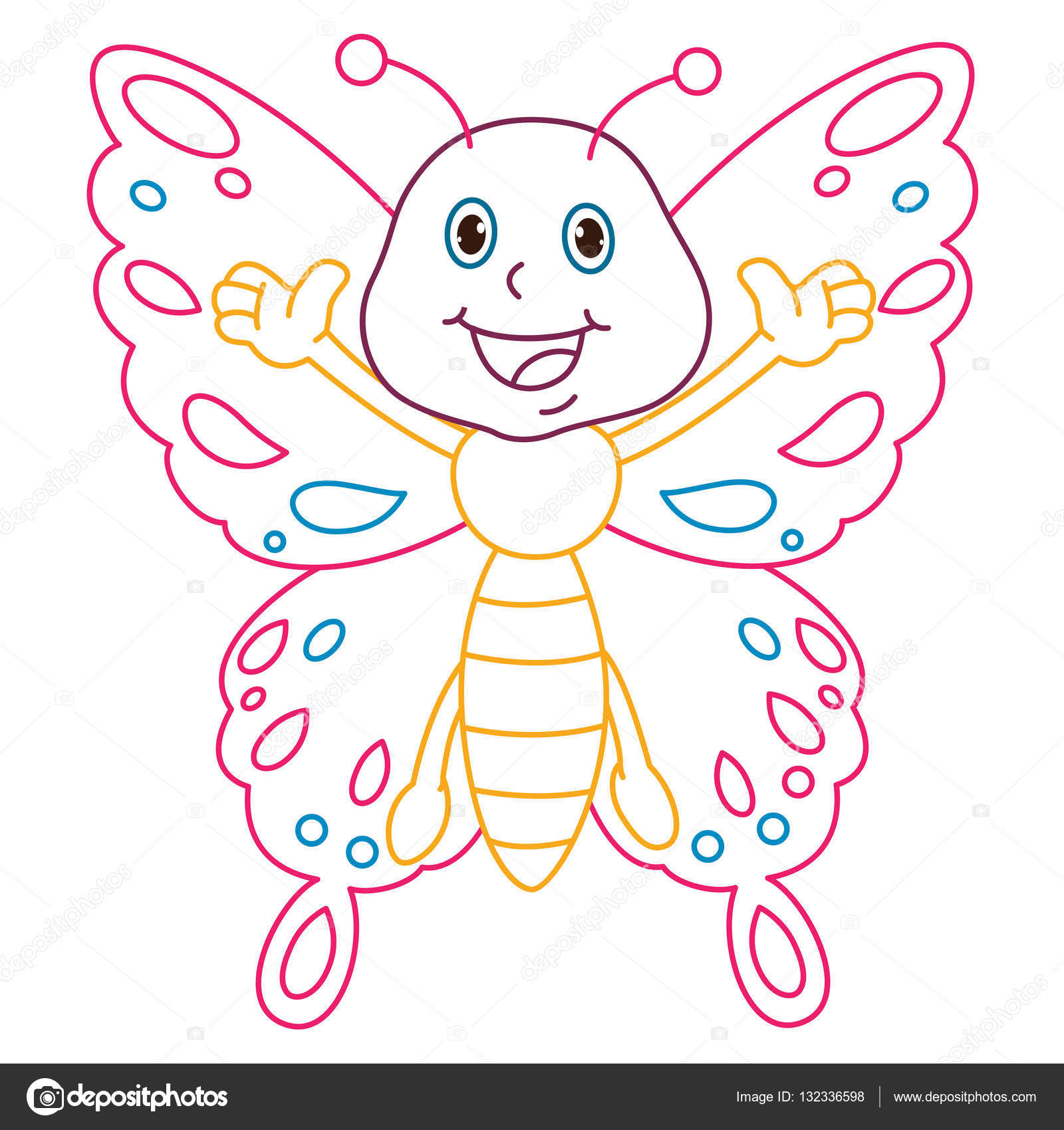 Disegni Da Colorare Pagina Illustrazione Della Farfalla Del Fumetto