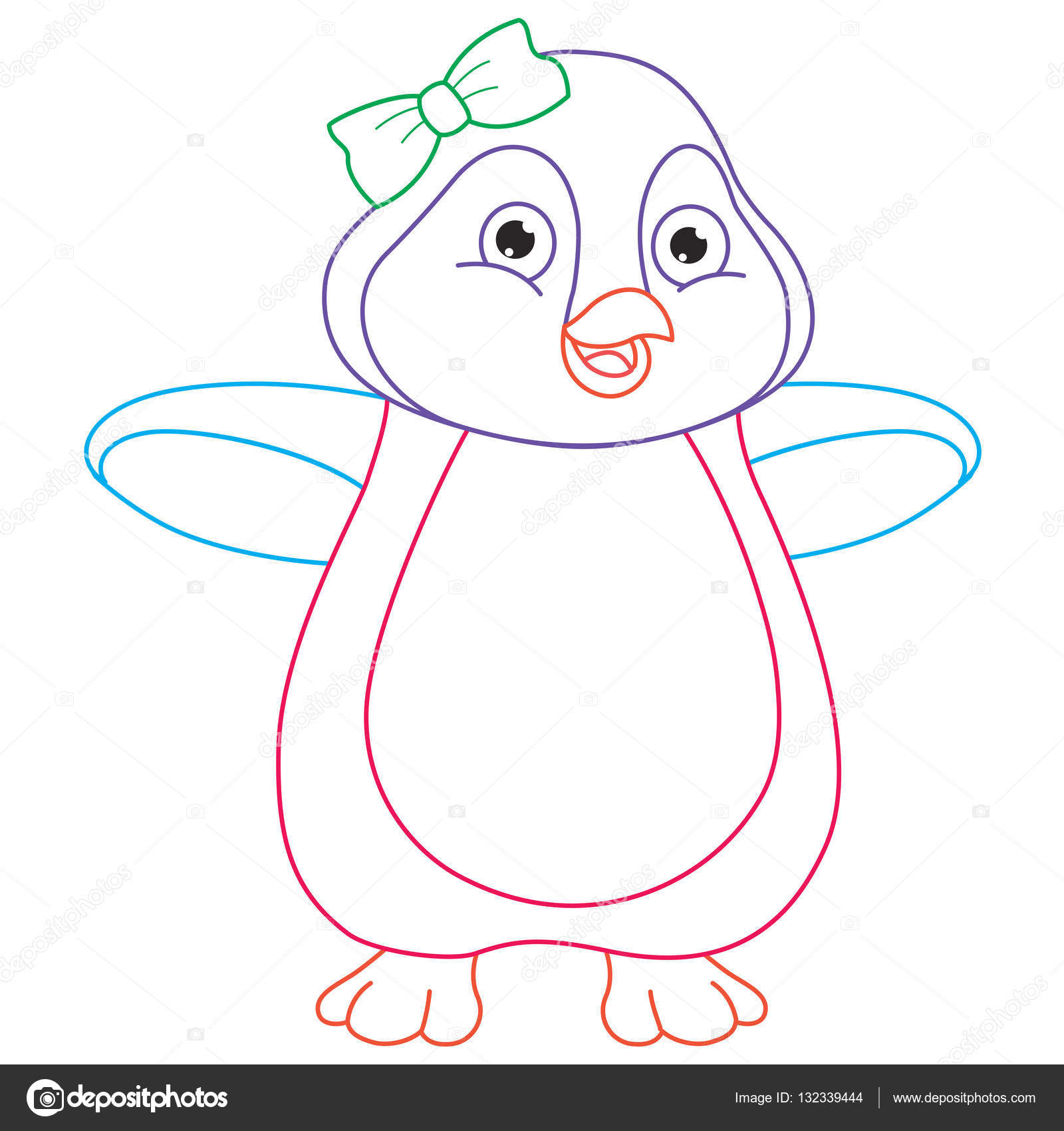 Cartoon Penguin Coloring Page Illustration Stock Vector