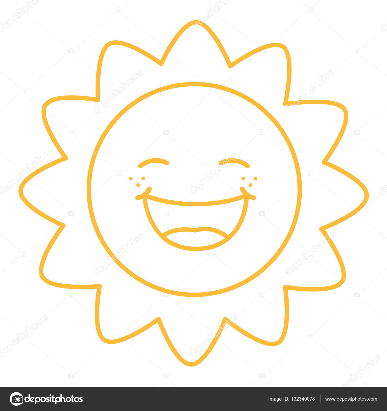 Coloring Page Illustration Of Cartoon Sun Stock Vector