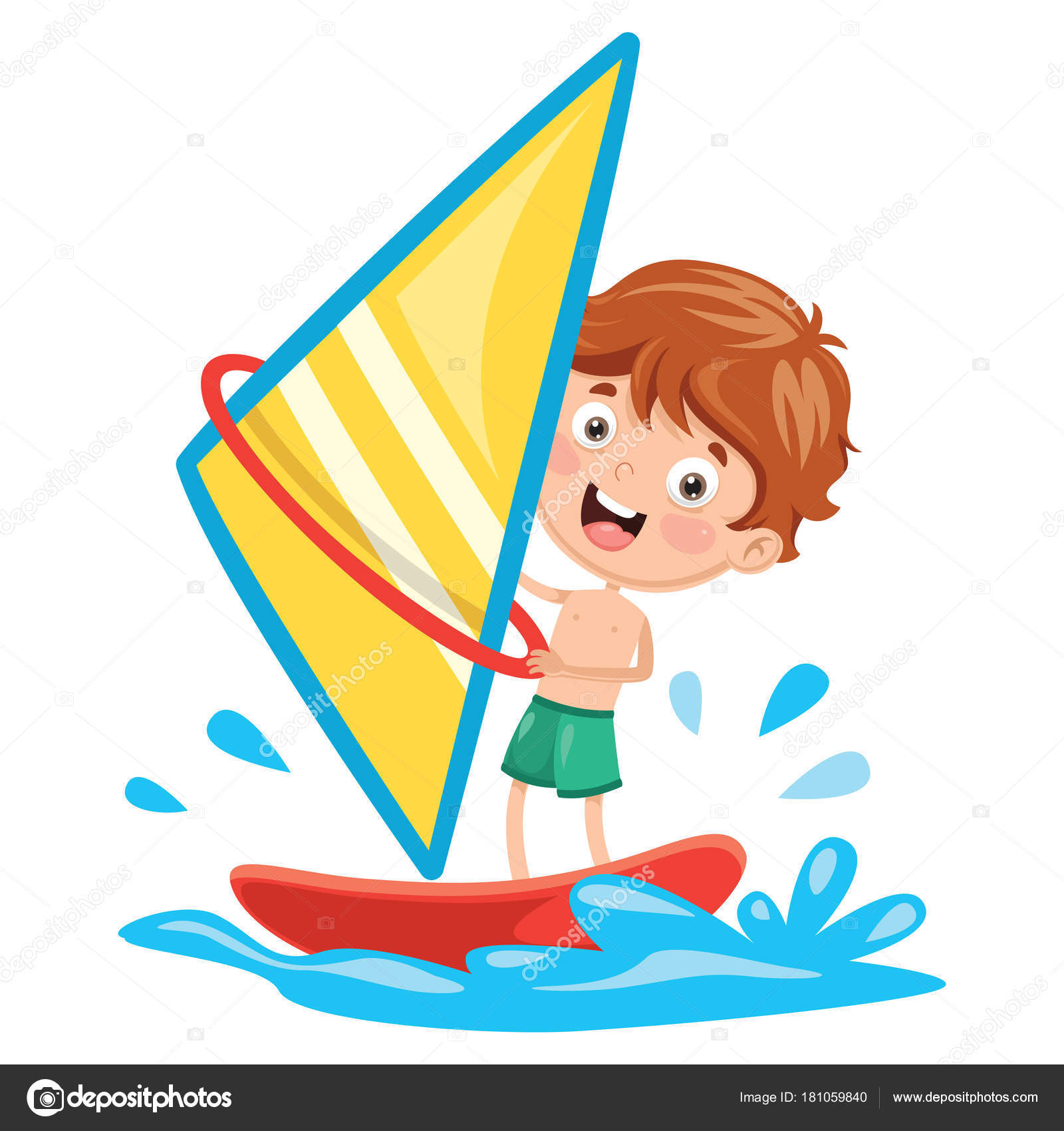 Vector Illustration Kid Windsurfing Stock
