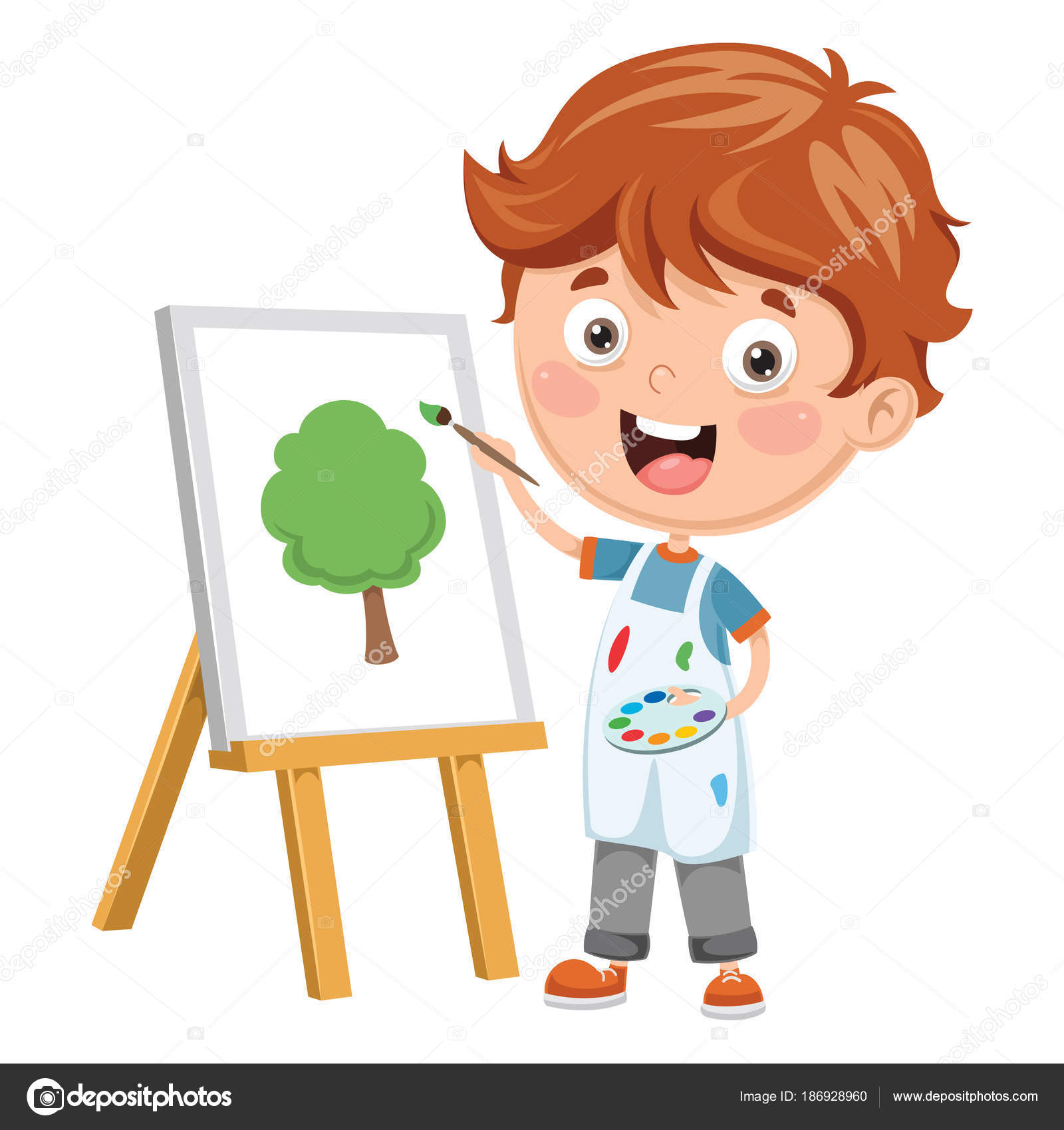 Vektör çizim Bir çocuk Boyama Stok Vektör Yusufdemirci 186928960