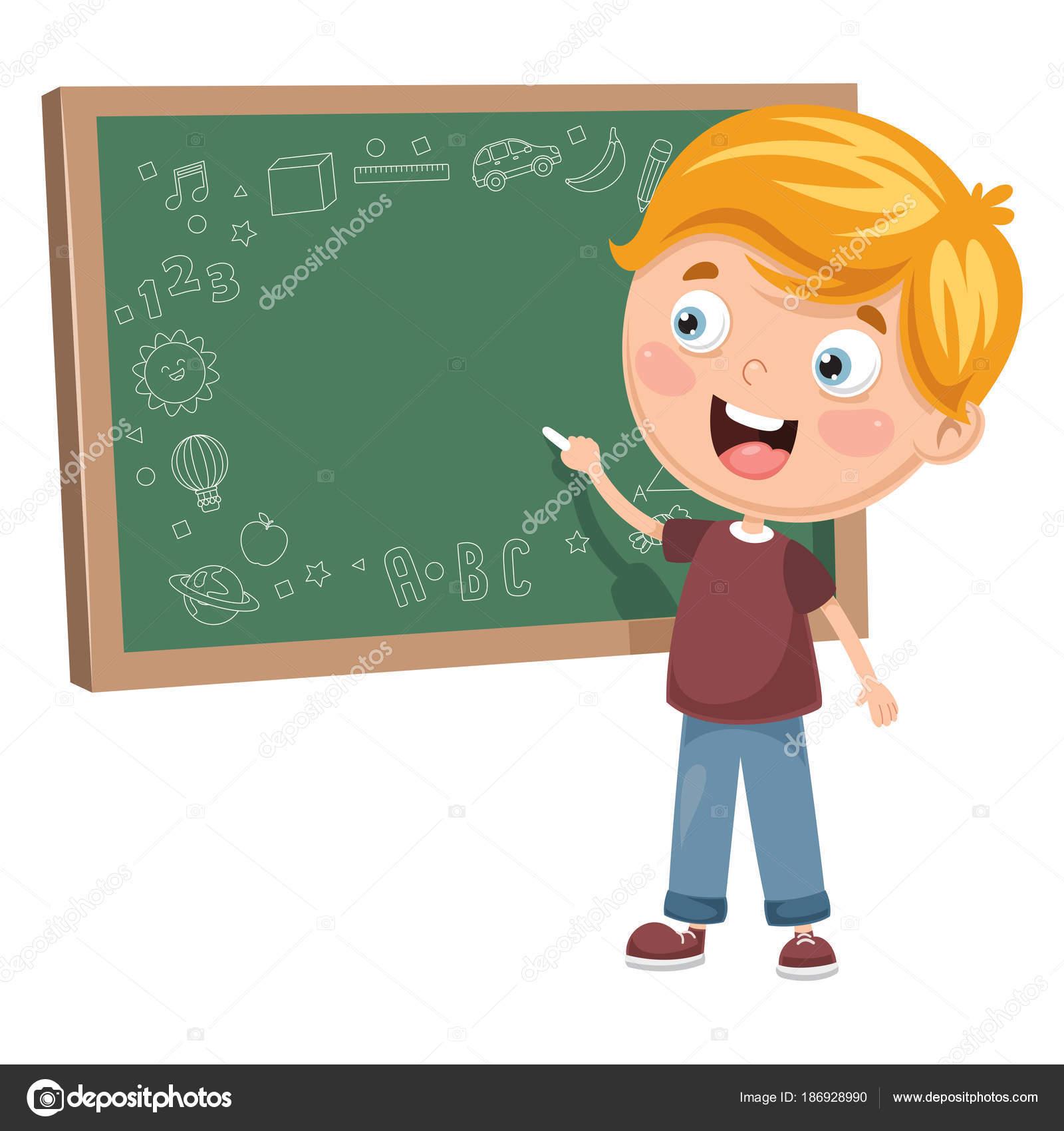 ボード上の子供書くのベクトル イラスト ストックベクター