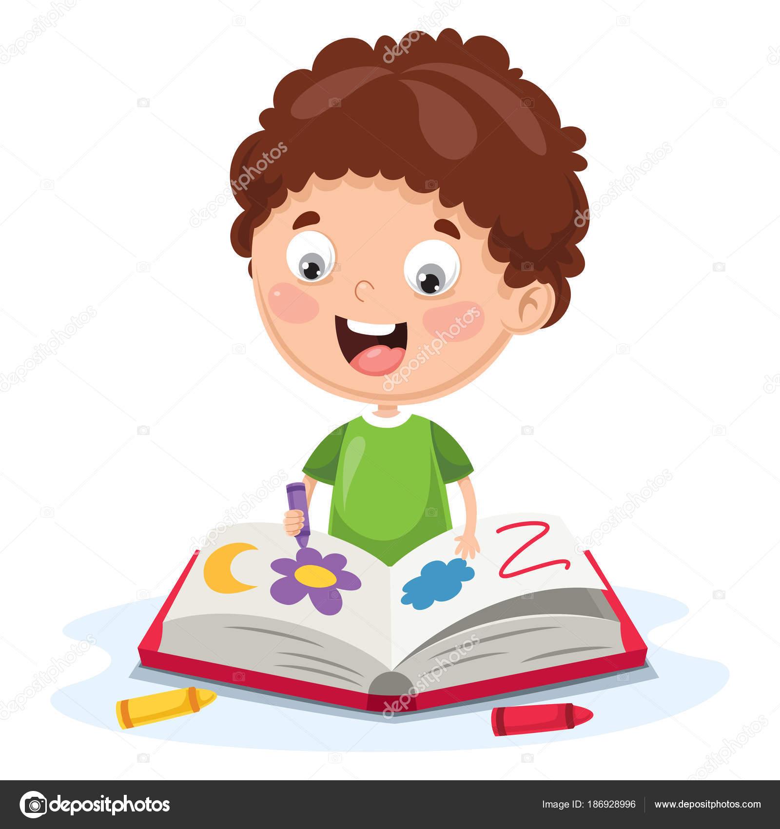 Dibujos Niños Y Niñas Estudiando Para Colorear Vector Ilustración