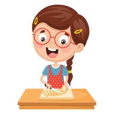 Vector Illustration Of Kid Preparing Meal