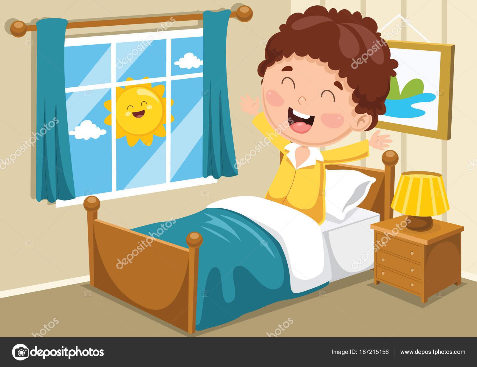 ilustra u00e7 u00e3o vetor garoto acordando vetor de stock waking up clipart images wake up clipart black and white