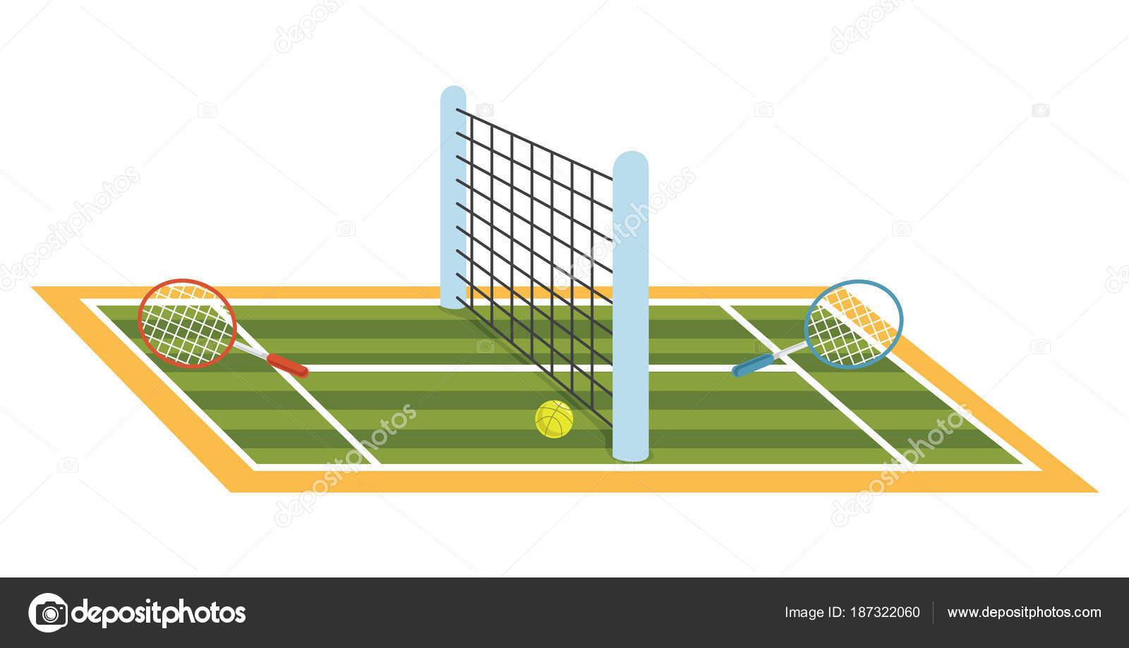 テニスコートのベクトル イラスト ストックベクター Yusufdemirci