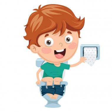 Vector Illustration Of Kid At Toilet