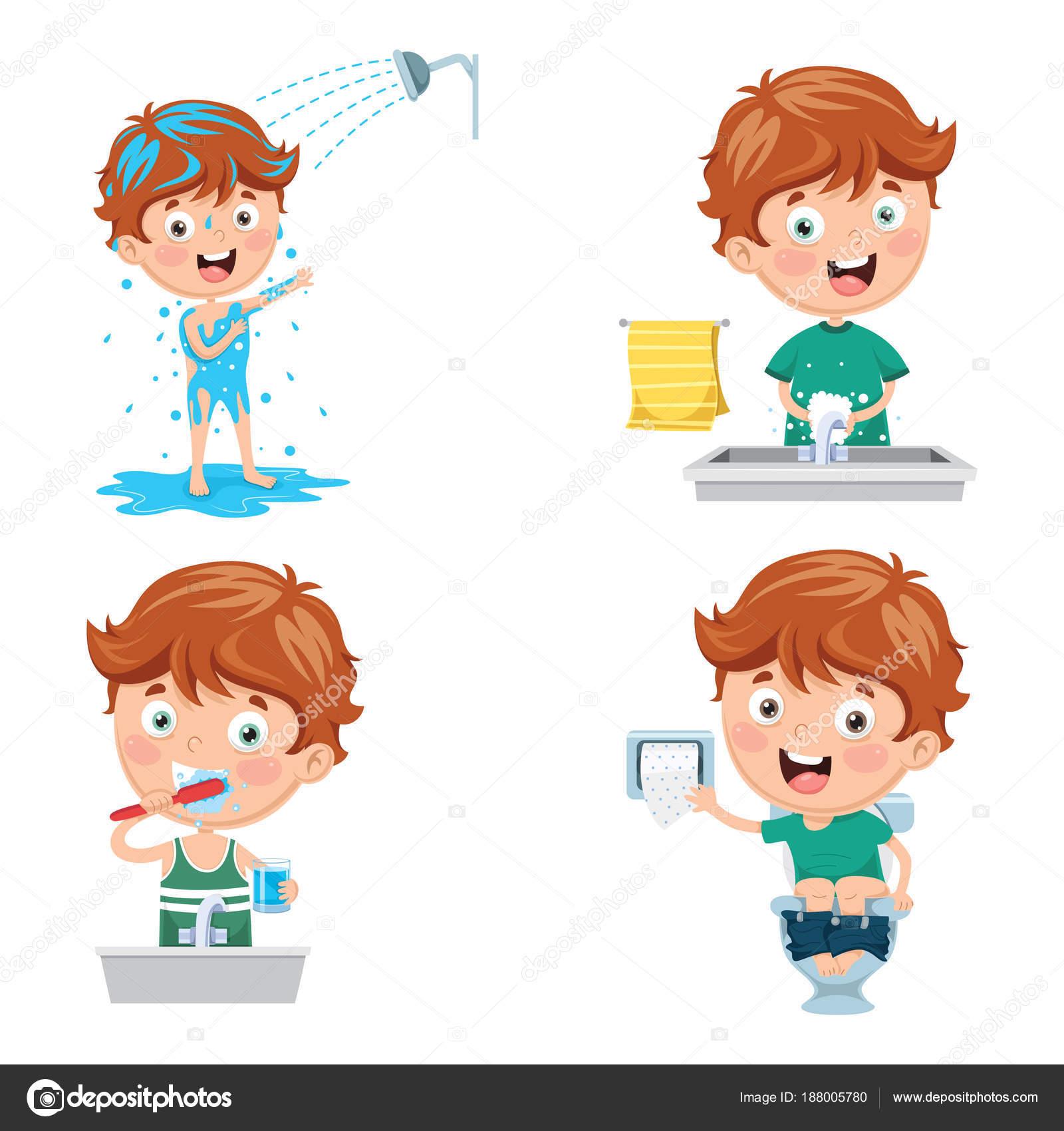 Vektor Illustration Von Kid Baden Zähneputzen Händewaschen Nach Der