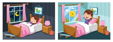 Vector Illustration Of Kid Sleeping And Waking Up