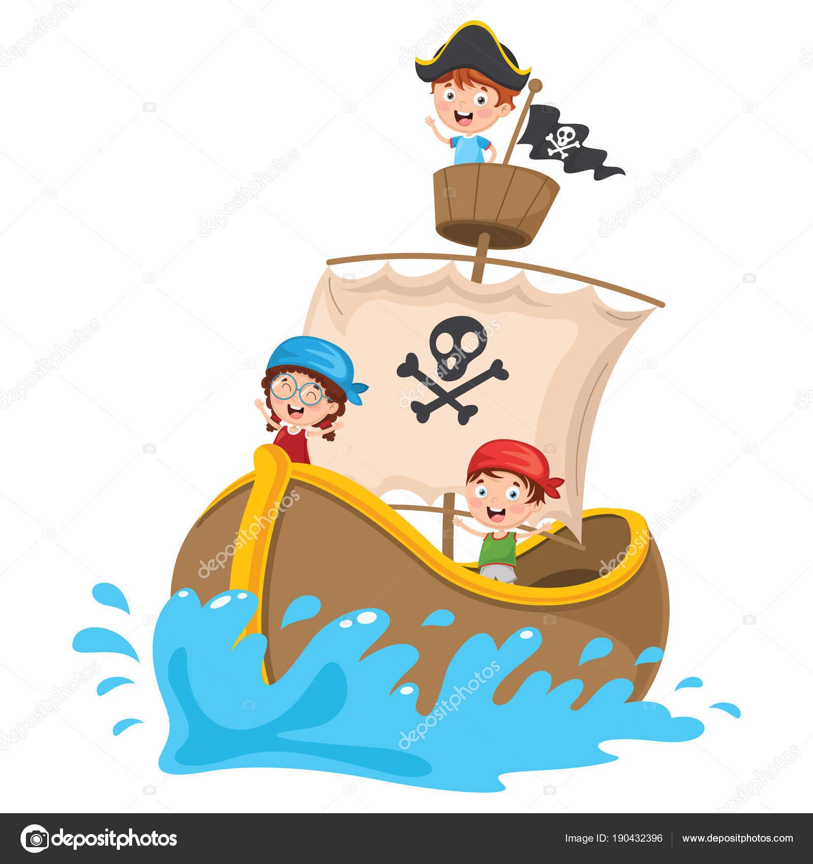 Vector Ilustración Dibujos Animados Los Niños Barco Pirata — Vector de stock 44d96167b0c
