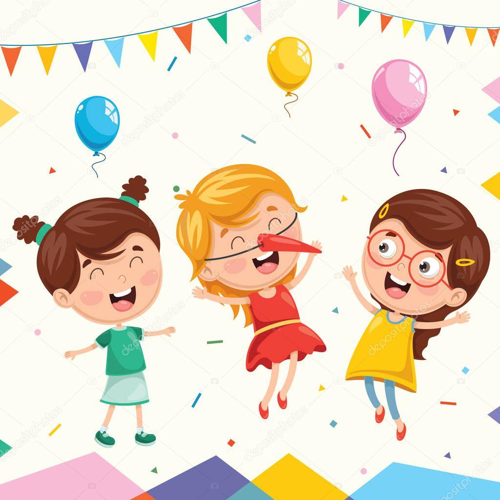 Birthday Party Photography Jakarta: Ilustración Vector Fiesta Cumpleaños Niños