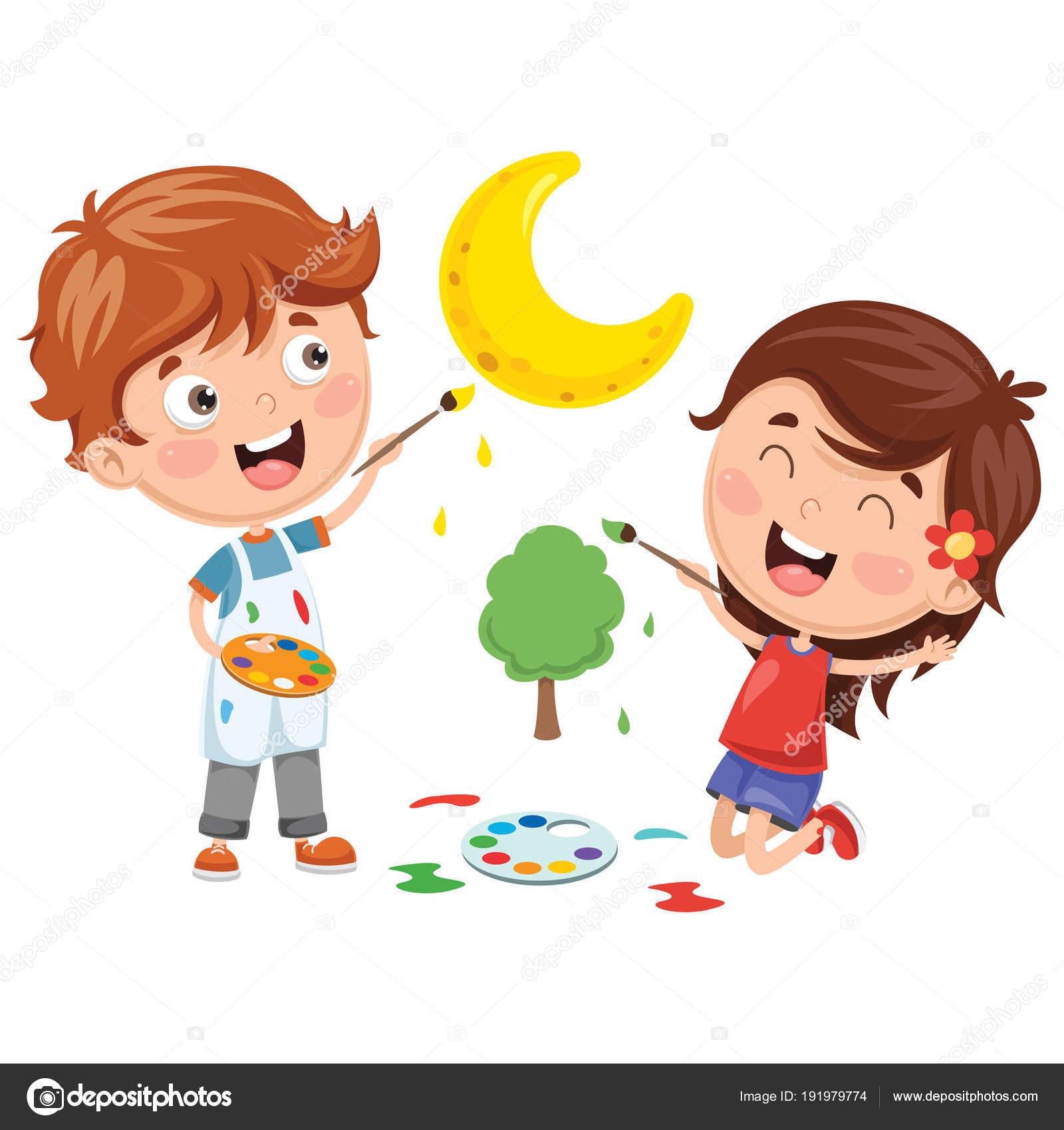 Vector Illustrations Enfants Peinture Image Vectorielle