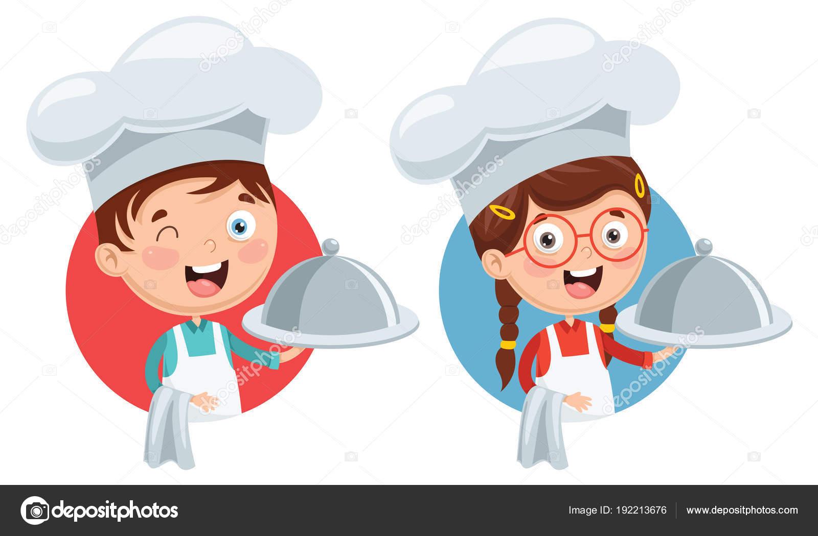 Ilustración Vectorial Niños Chef Cocina