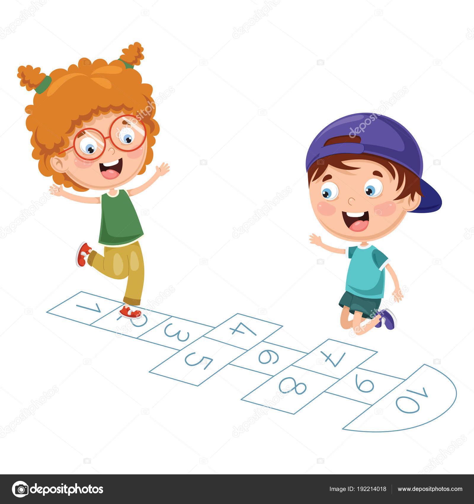Vector Doctora Juguetes Vector Ilustración Niños Jugando Rayuela