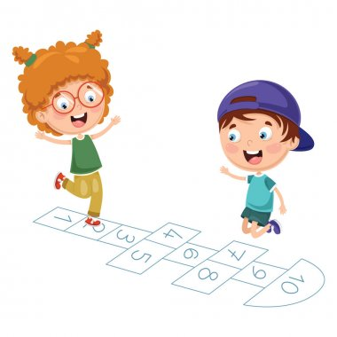 Vector Illustration Of Kids Playing Hopscotch stock vector