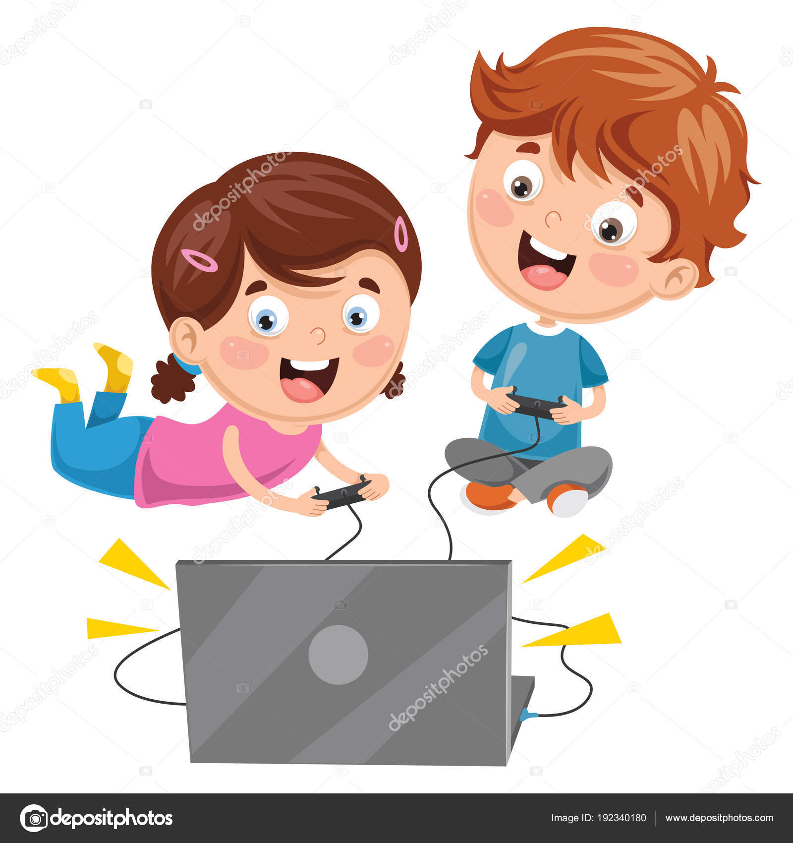 Dibujos Niños Jugando Videojuegos Vector Ilustración Niños