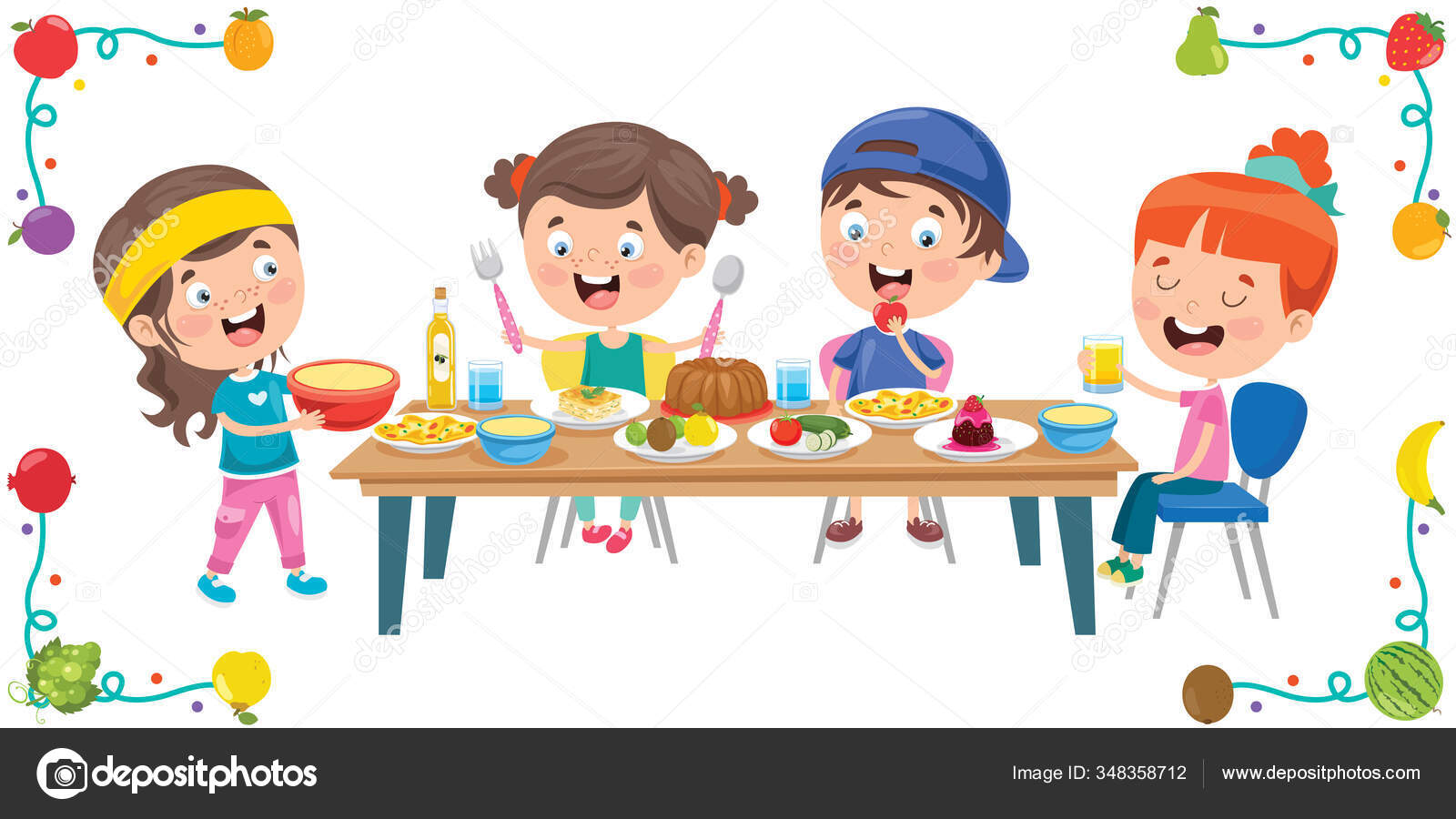 ᐈ Eating Lunch Cartoon Stock Pictures Royalty Free Kids Eating Lunch Images Download On Depositphotos